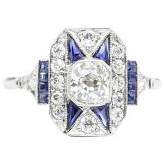 Art Deco Sapphire Old Mine Diamond Platinum Filigree Ring, circa 1920