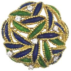 Tiffany & Co. Diamond Enamel Round Open Pin Brooch