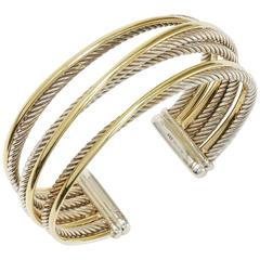David Yurman Sterling Silver  Yellow Gold Four-Row Crossover Cuff