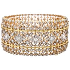 Diamond Gold Cuff Bangle Bracelet