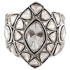 Bold and Bright Looking Rosecut Diamond Silver Gold Ring