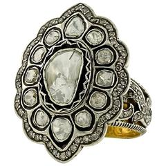 Rosecut Diamond Silver Gold Ring