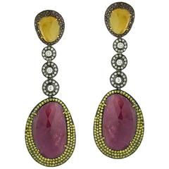 Red and Yellow Sliced Sapphire Diamond Silver Gold Dangle Earring