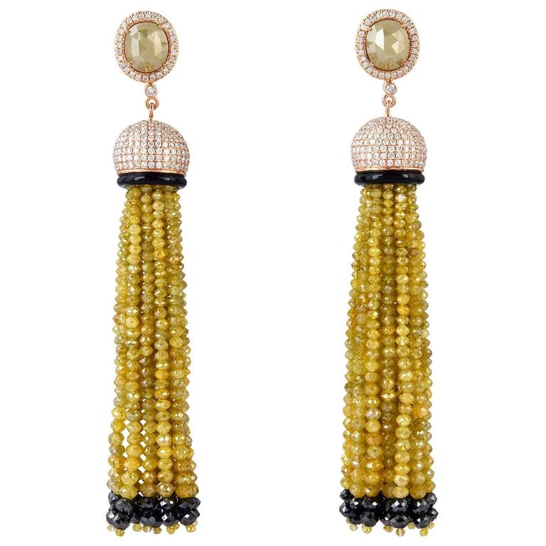Yellow Diamond Gold Tassel Earrings