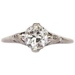 1905 GIA Certified .80 Carat Diamond Platinum Engagement Ring
