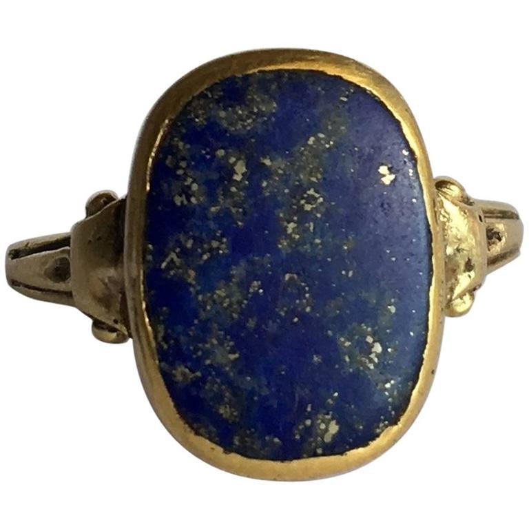 vintage lapis lazuli gold signet ring at 1stdibs