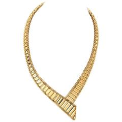 1980s Tapered Yellow Gold Link Necklace