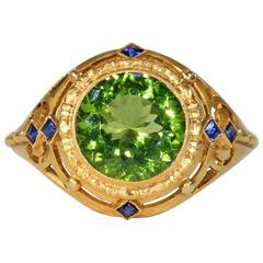 Stunning Austrian Art Deco Peridot Gold Ring