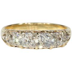 Antique Victorian Five Stone Diamond Gold Ring
