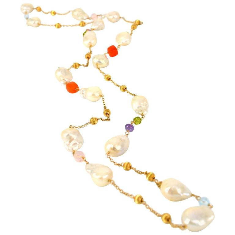 Pearl Blue Topaz Amethyst Carnelian Rose Quartz Peridot Gold Chain Necklace