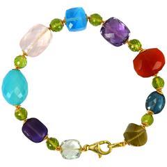 Multi Gemstone Blue Topaz Amethyst Peridot Lemon Rose Quartz Gold Bracelet