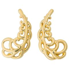 Tiffany & Co. Paloma Picasso Gold Plume Earrings