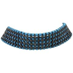 Luise Turquoise Paste Silver Gold Choker Necklace