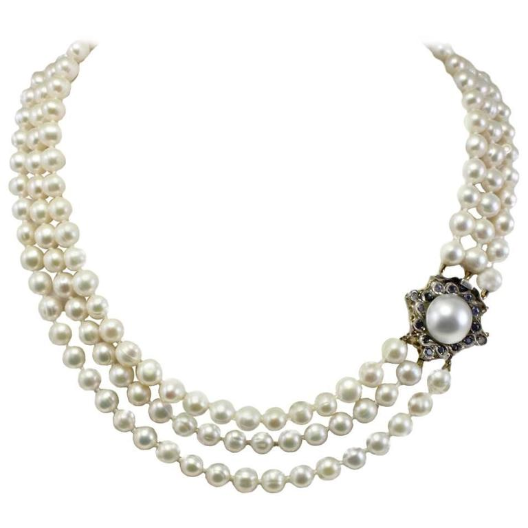 Pearls Sapphire Gold and Silver  Beaded Necklace