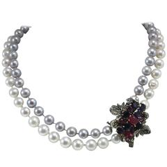 Luise Pearls Emerald Ruby Sapphire Diamond Silver Gold Beaded Necklace