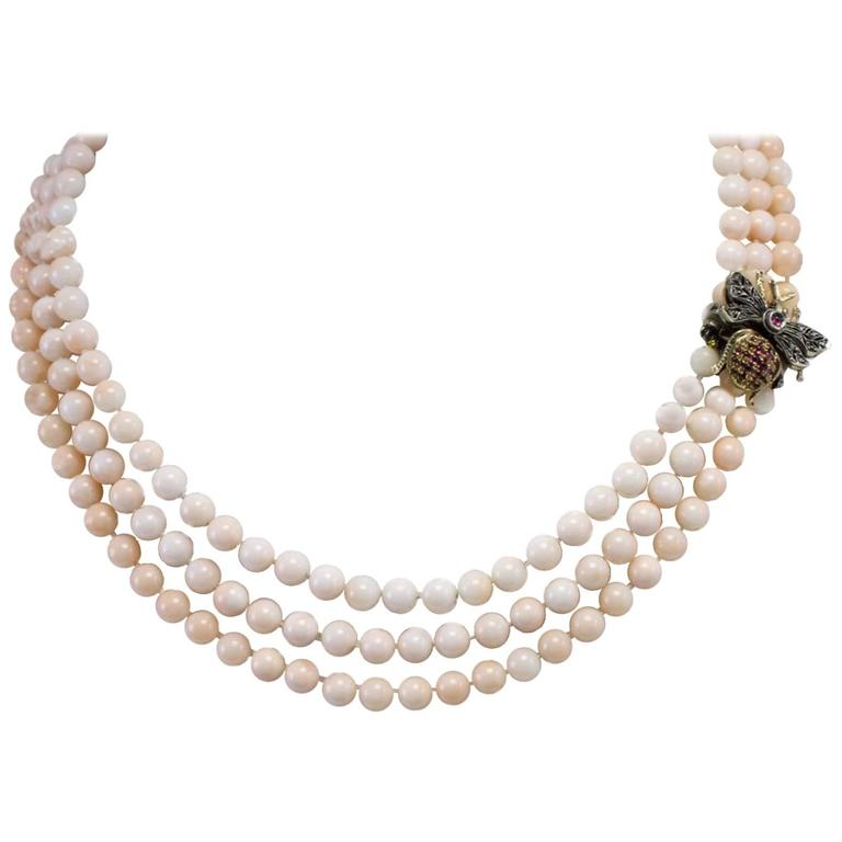 Coral Amethyst Diamond Silver Gold Multi-Strand Necklace
