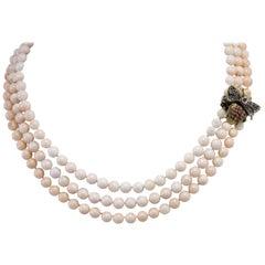 Coral Amethyst Diamond Silver Gold Multi-Strand Necklace