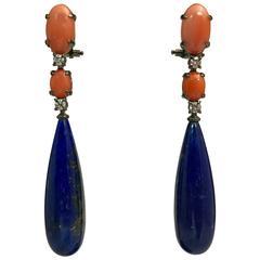 Coral Lapis Lazuli Diamond Chandelier Earrings