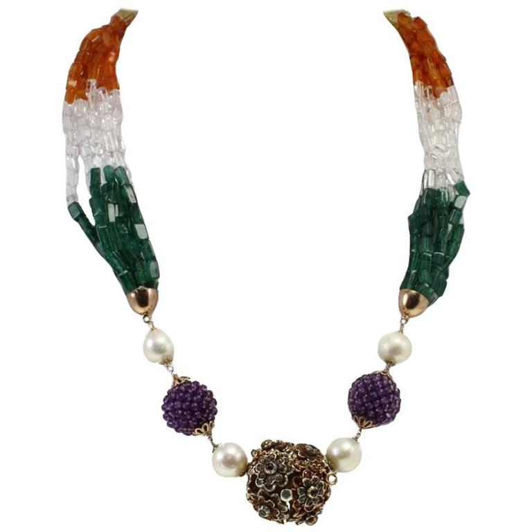 Amethyst Sapphire Ruby Emerald Silver Gold Stones Multi-Strand Necklace