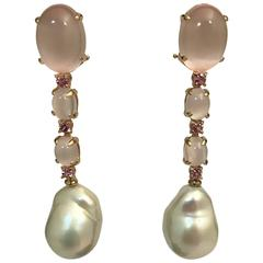 Yellow Gold Pink Quartz, Tourmaline and Cultured Pearls Chandelier Earrings