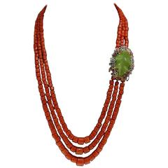 Luise Coral Amethyst Sapphire Ruby Diamond Silver Gold Multi-Strand Necklace