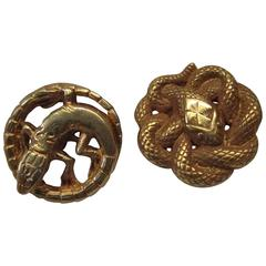 Art Nouveau French Gold Snake Lizard Cufflinks