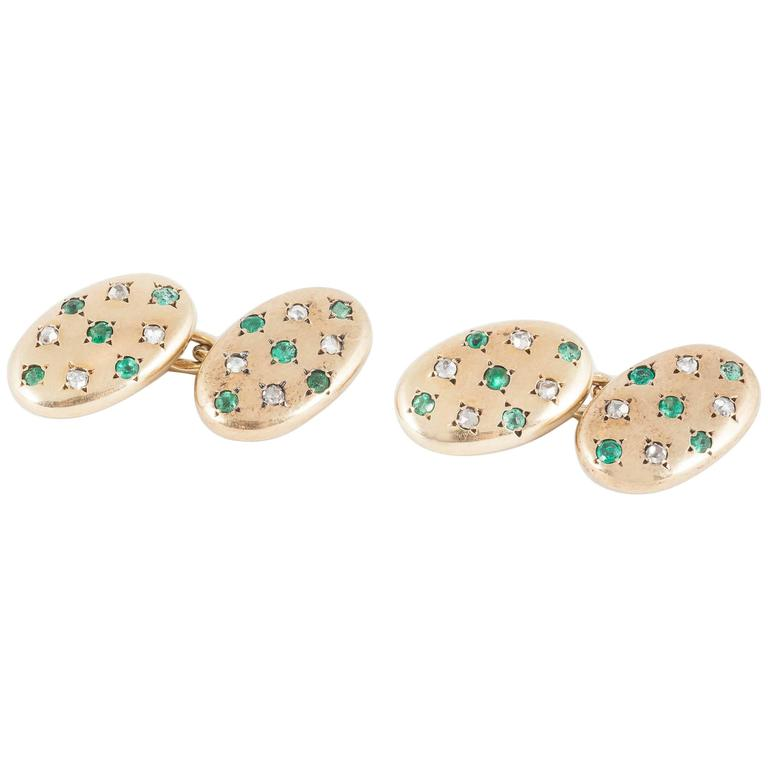 Cufflinks set Emeralds and Diamonds in Rose Gold,French,  circa 1900