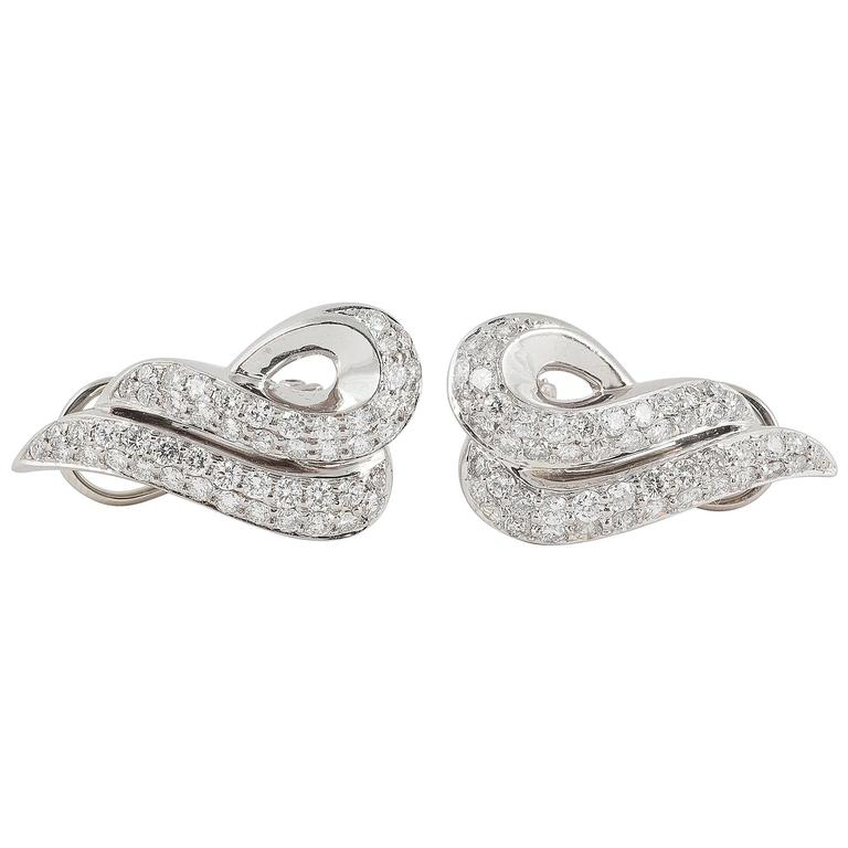 Pair of Diamond Platinum Ear Clips