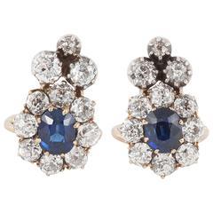 Sapphire Diamond gold Cluster Clip Earrings