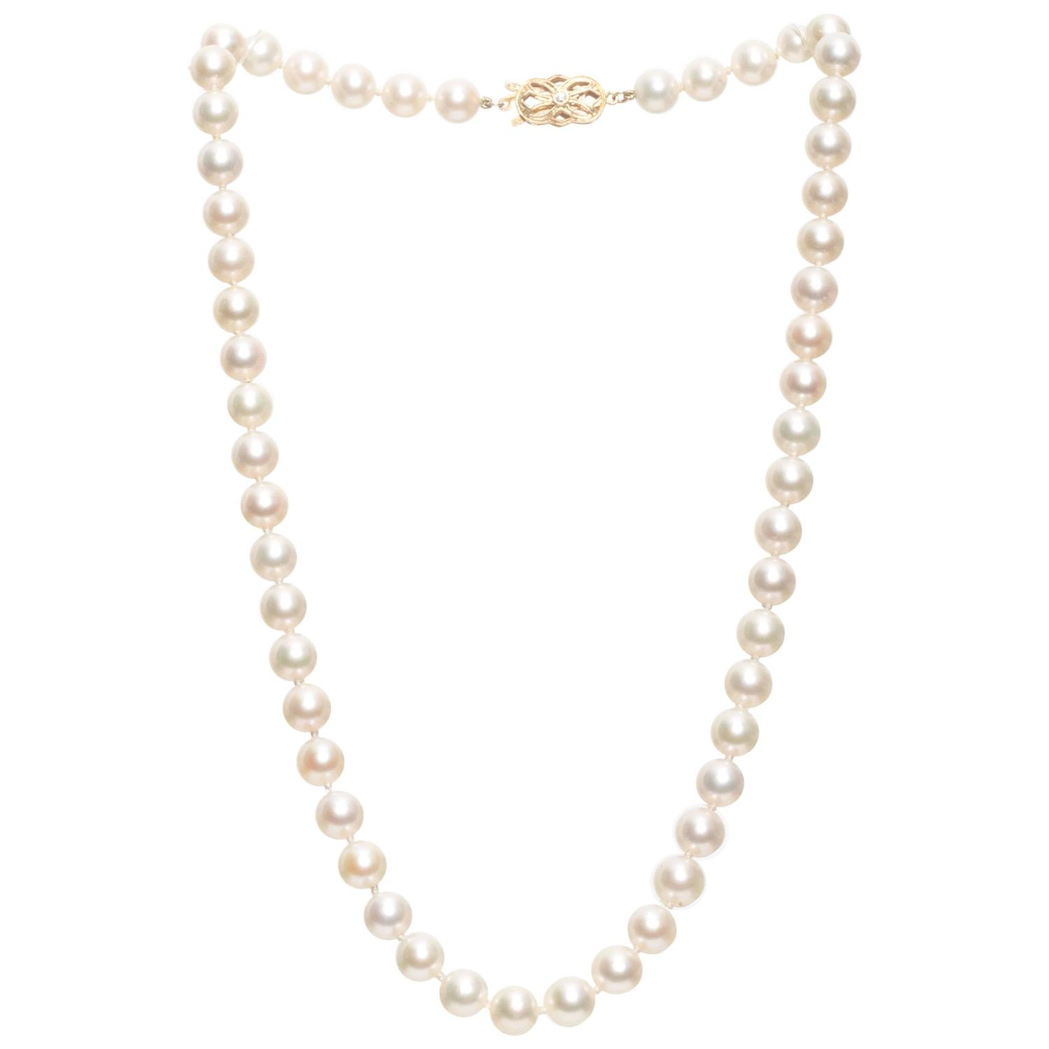gold with diamond a necklace in drop pearl pendant white accents products mikimoto akoya