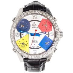 Jacob & Co. Stainless Steel Diamond Bezel Wristwatch