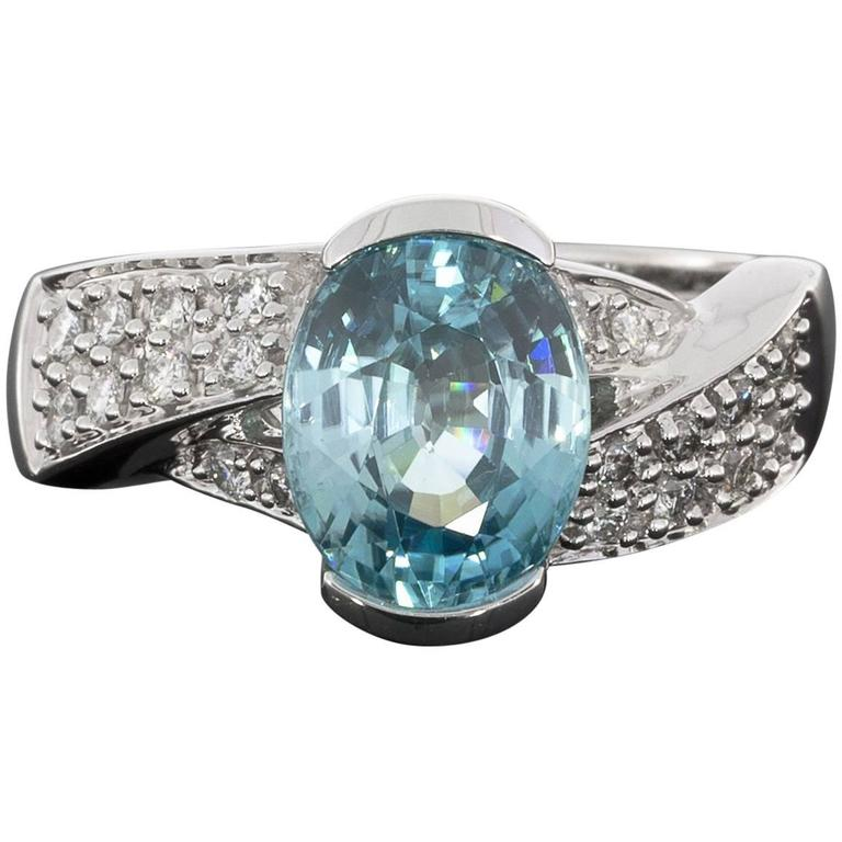 4 Carat Oval Blue Zircon Diamond Pave White Gold Twist Ring