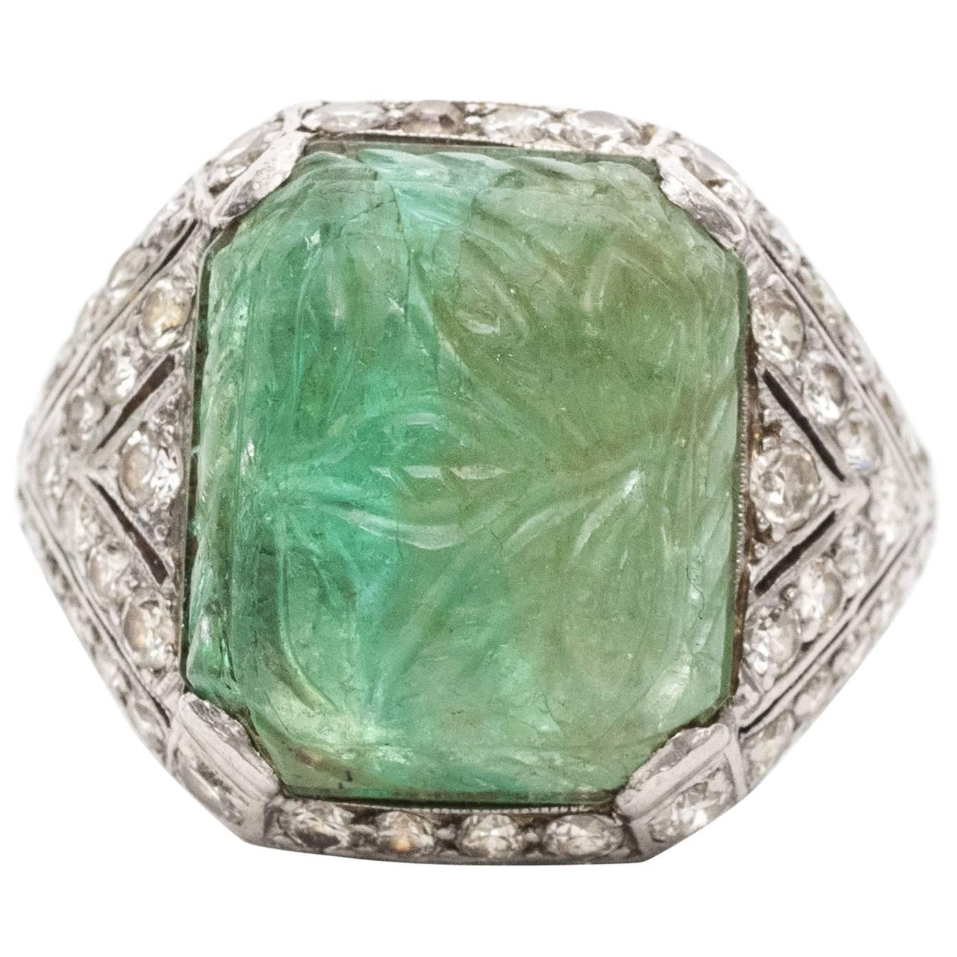 1920s Art Deco Carved Emerald Cabochon Diamond Platinum Ring