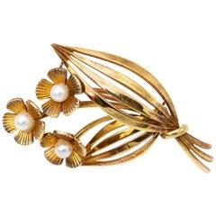 Tiffany & Co. Gold Pearl Flower Pin Brooch