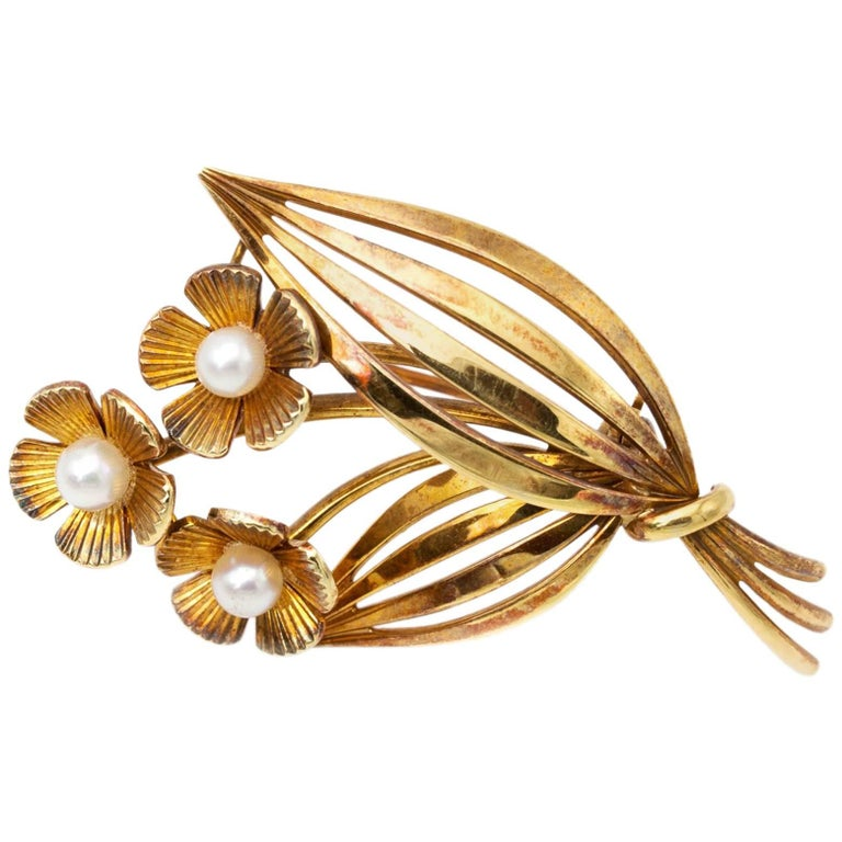 Tiffany & Co. Gold Pearl Flower Pin Brooch