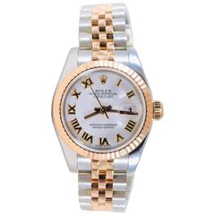 Rolex Ladies Rose Gold Stainless Steel Datejust Pristine Like New Wristwatch