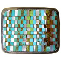 Charlie Bird Turquoise Coral Sterling Silver Mosaic Belt Buckle