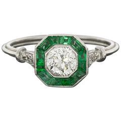 Old European Diamond Calibre Emerald Platinum Halo Engagement Ring