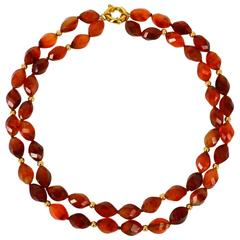 Carnelian Multi Strand Gold Necklace