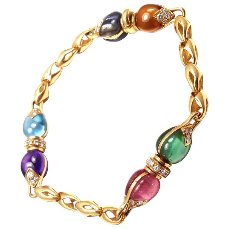 Bulgari Diamond Color Stone Yellow Gold Link Bracelet
