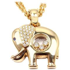 Chopard Diamond Sapphire Happy Elephant Yellow Gold Pendant Necklace