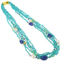 Apatite Tanzanite Chrysoprase South Sea Pearl Torsade Gold Necklace