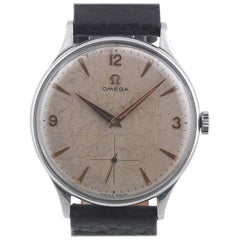 Omega Stainless Steel Silvered Dial Arab Numbers Manual Wind Wristwatch