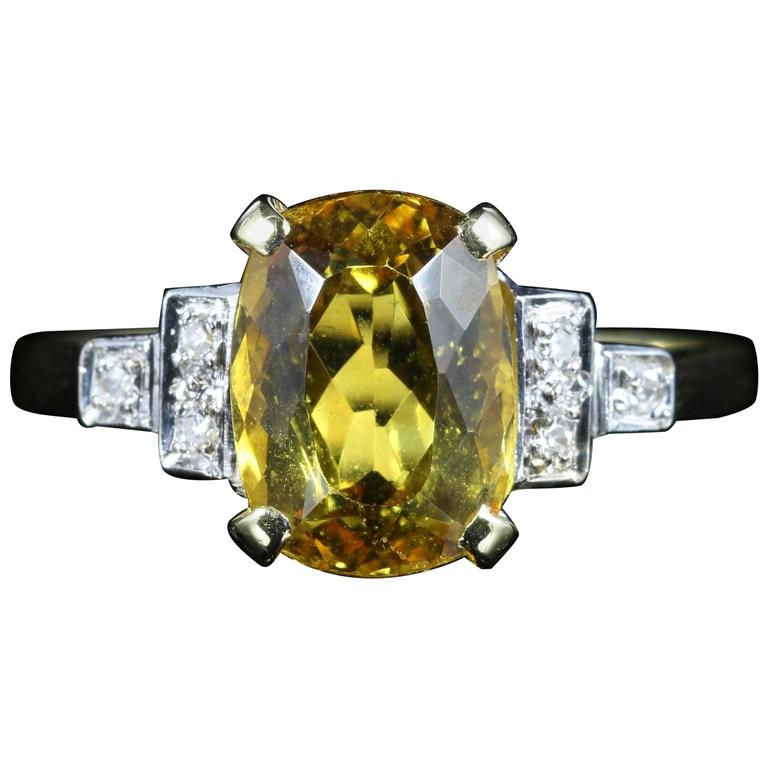 Yellow Beryl and Diamond Trilogy Ring 18 Carat Gold Engagement