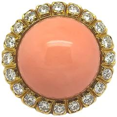 Coral Diamond Halo Ring