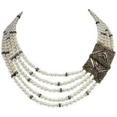 Pearl Sapphire Diamond Silver Gold Multi-Strand Necklace