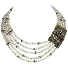 Pearl Sapphire Diamond Silver Gold Multi-Strand Necklace