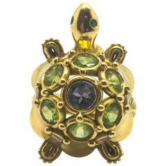 Multi Gem Set Gold Turtle Ring
