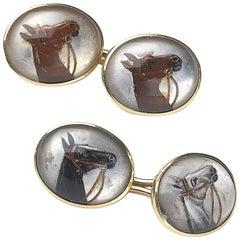 Reverse Crystal Horse Cufflinks
