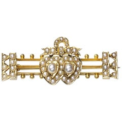 Seed Pearl Gold Double Heart and Bow Brooch